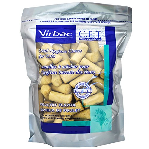 Virbac C.E.T. Enzymatic Oral Hygiene Chews for Cats, Poultry Flavor, 30 Count