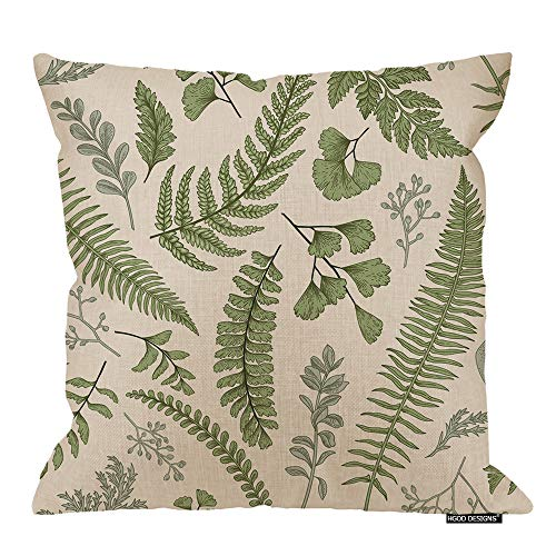 HGOD DESIGNS Leaves Square Pillow Cushion Cover,Green Leaves and Fern Pattern Cotton Linen Cushion Covers Home Decorative Throw Pillowcases 18x18inch ()