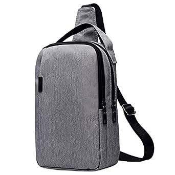 TOOGOO Nylon Chest Bag Men'S Bag Messenger Bag Multi-Function Messenger Fashion Outdoor Chest Bag Light Grey