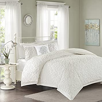 Brand new Amazon.com: Full/Queen Size Sarah White Tufted Comforter 4 Piece  YM07