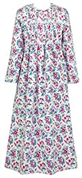 Flannel Pintucked Long Nightgown in Festive Bouquet
