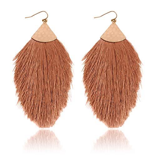 RIAH FASHION Bohemian Silky Thread Tassel Statement Drop Earrings - Strand Fringe Lightweight Feather Shape Hook Dangles/Fan Threader/Triangle Duster (Petal Tassel - Copper Brown)