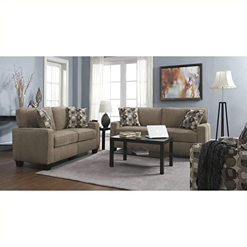 Serta 2 Piece Santa Cruz Sofa Set in Platinum Fabric