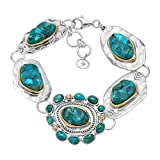 Silpada 'Santa Fe' Sterling Silver, Brass, and Turquoise Bracelet, 8''