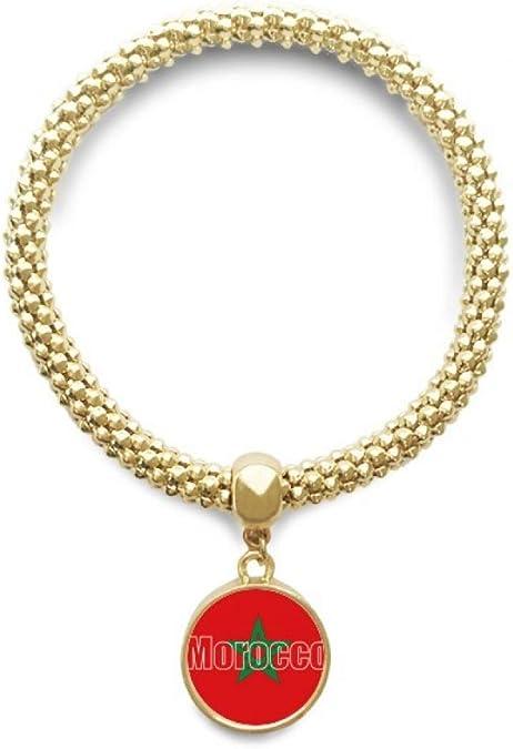 DIYthinker Cadena de joyería Marruecos Bandera de país Nombre de Oro Pendiente Redondo de Pulsera: Amazon.es: Joyería