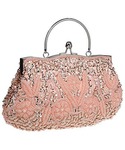 Color Multi Pink Handbag (iToolai Satin Purse Evening Handbags Wedding Bag Beaded Sequins Clutch (Pink))