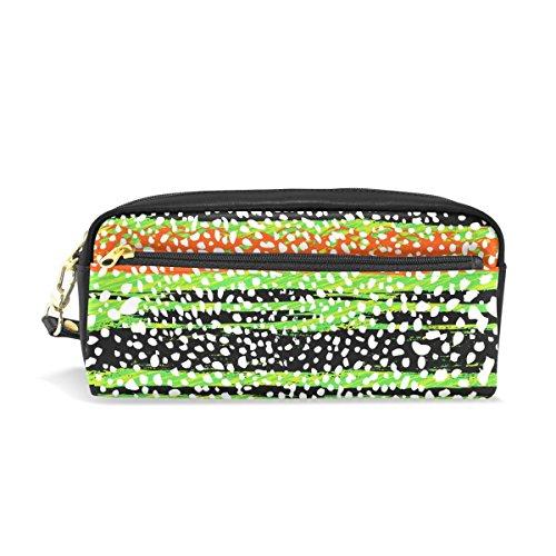 Bleistift Fall, multicolor gestreift Muster bedruckt Reise Make-up Pouch Large Wasserdicht Leder 2Fächer für Mädchen Jungen Damen Herren