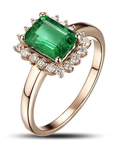 1,25 quilates esmeralda y anillo de compromiso de diamantes en oro amarillo
