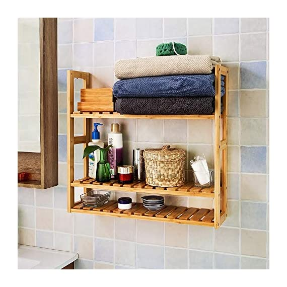 Trustiwood Bamboo Bathroom Shelf Adjustable 3-Tier Multifunctional Layer Rack Bathroom Kitchen Living Room Holder Wall Mounted Storage Organizer Standing Shelf - 【Multifunctional Use】The bamboo shelf is suitable to be placed in the hall, living room, bedroom, balcony or on the kitchen, bathroom wall. With the 3 tiers bamboo storage shelf you can have enough space to place many your stuffs, such as toiletries, towels, sundries, shoes, books, plants, spice and small appliances, help you organize your home comfortable and tidy. 【Adjustable 3-Tier Bamboo Rack】The 3-tier storage rack is crafted with durable and environmental-friendly bamboo whose surface is smooth and safe. Three tiers provide ample space for organizing and displaying your towels, shampoos, books, plants, shoes in bathroom, living room, balcony, kitchen etc. 【Light Weight and Easy to Move】 Wall Mounted or just standing by the wall, saving space and making your home neat and well-organized.Light weight makes it easy and convenient to be moved in your home. - wall-shelves, living-room-furniture, living-room - 517p2FXN%2BnL. SS570  -