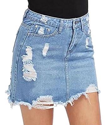 Generic Womens Fashion A-Line Denim Skirt Distressed Ripped Solid Color Denim Jean Mini Skirt