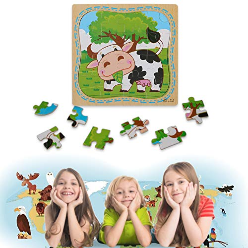 LovesTown Wooden Jigsaw Puzzles,6 Pcs Preschool Puzzles 2-5 Years Old Toddler Puzzles 16 Pieces Animal Puzzles for Kids Preschool Educational Learning Toys