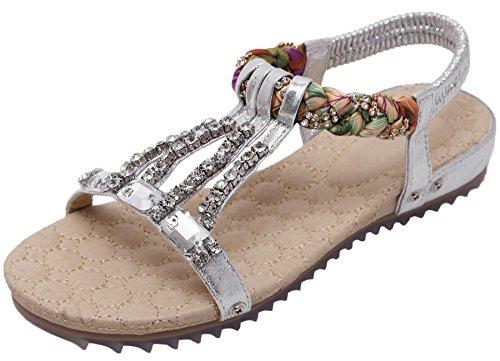 Sandalias de Plateado Con Plano Playa Rhinestone Sandalias Beads BIGTREE Bohemio Peep Verano Toe Mujer brillo Aw4q1dZ