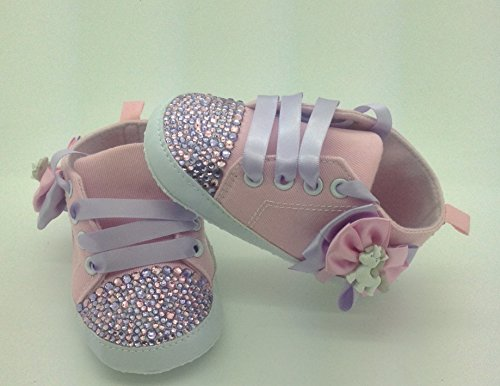 Personalizado Bebé niña rosa unicornio 3/6Meses. Cuna Cochecito de bebé zapatos Crystal Bling Rhinestone Diamantes de Campanilla Bling tamaño 6/9Meses. Primera Walker.
