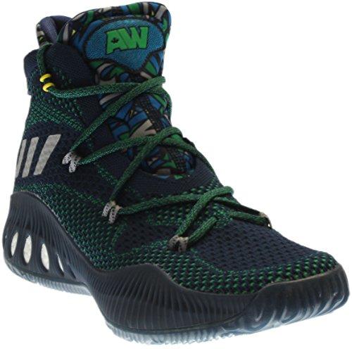 Adidas Mens Pazzo Esplosivo Scarpe Da Basket Primeknit Blu / Grigio / Verde