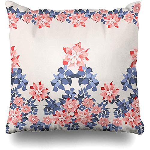 (Throw Pillows Cover Cushion Cases Gorgeous Border Cute Flowers Clematis Navy Leaves Floral Exotic Pattern Fills Decoupage Satin Home Decor Pillowcase Square 18 x 18 Inches)