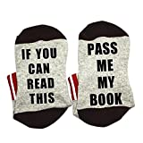 Dukars Funny Saying Knitting Word Combed Cotton Crew Wine Coffee Taco Beer Socks for Men Women (Book)