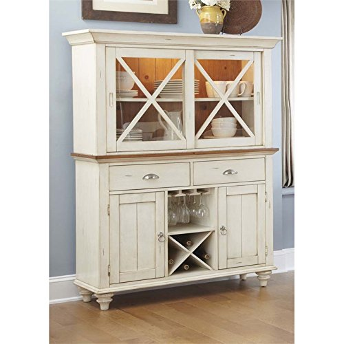 BOWERY HILL China Cabinet in Bisque with Natural Pine