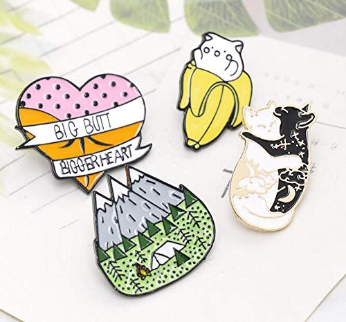 Black and White cat Licking Brooch Forest Banana cat pin (3) by Angelstore Brooch (Image #4)