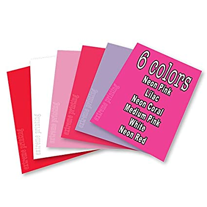 White//Neon Pink//Lilac//Neon Coral//Medium Pink//Neon Red 6 Color Valentines Day Bundle Extreme Film Iron On Heat Transfer Vinyl 15 x 12 Each