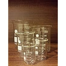 Karter Scientific 213A2 Borosilicate Glass Low Form Glass Beaker 5 piece Set 50, 100, 250, 500, 1000Ml (Pack of 5)