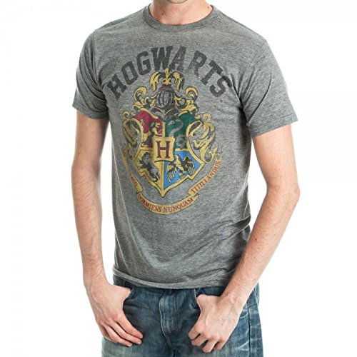 Harry Potter Hogwarts Crest Adult T-Shirt - Grey (Medium)