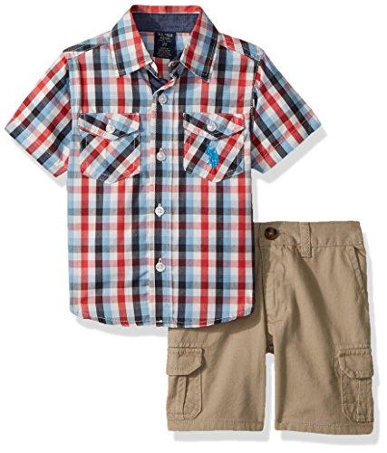 U.S. Polo Assn. Boys' Toddler Sleeve Woven Shirt and Short Set, Blue Logo Multi Plaid 4T -