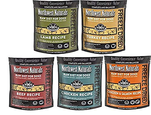 Mixed 5-Pack 12 oz Northwest Naturals Raw Rewards Freeze Dried Nuggets Dinner for Dogs