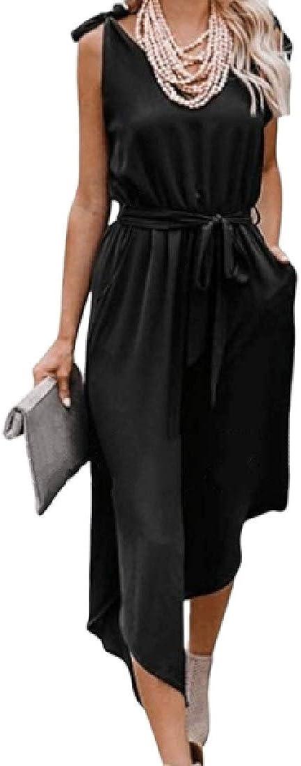 ARTFFEL Womens Stylish Sleeveless V Neck Belted Wide Leg Pockets Long Rompers