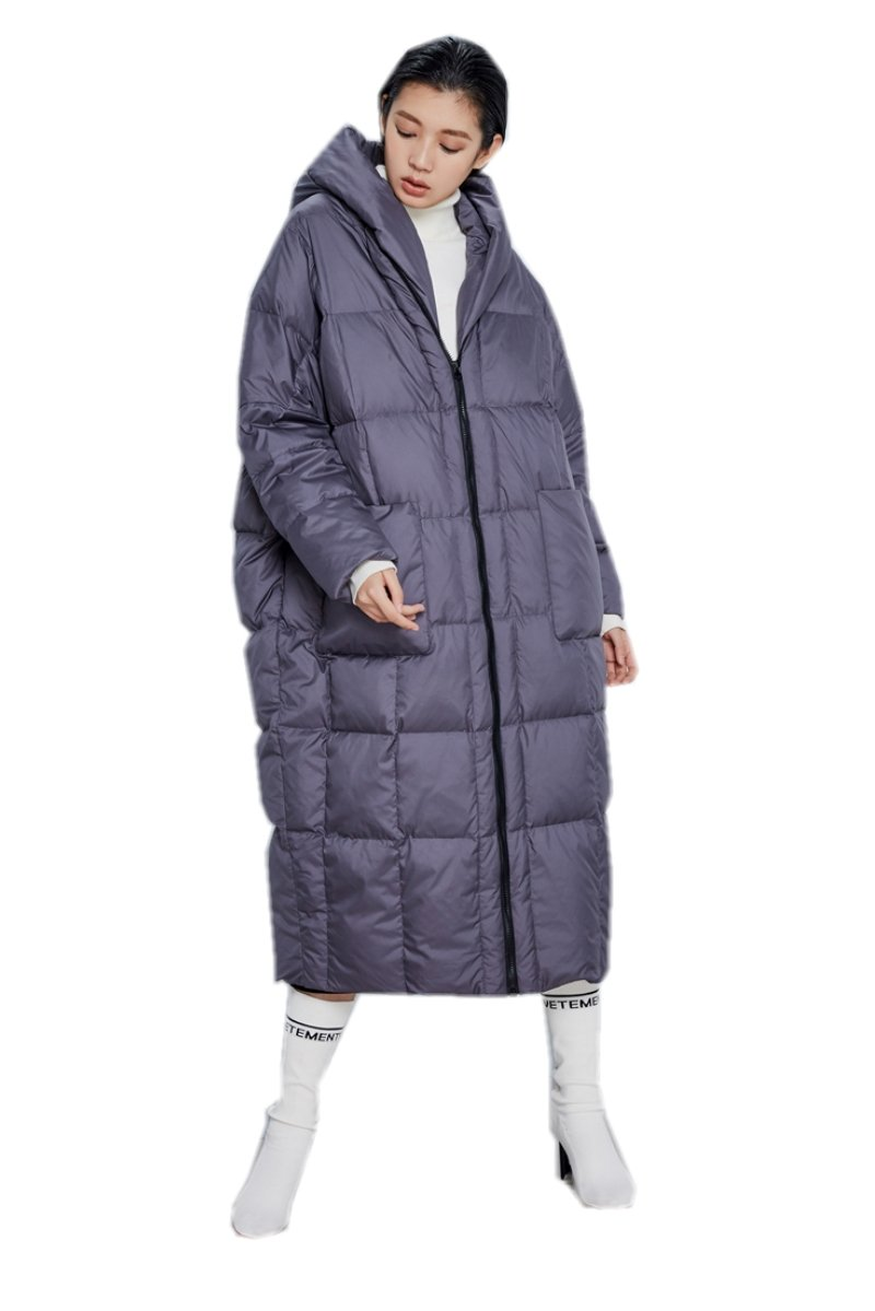 Katuo Women's Cocoon Style Thickened Light Weight Long Coat Hooded (M, Gray)