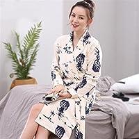 Huasen Soft Cozy Women Girls Long Sleeves Bathrobe Pineapple Pattern Cotton Nightgown Pajamas Cardigan Bathrobe Bathrobe for Women (Color : Beige, Size : XXL)
