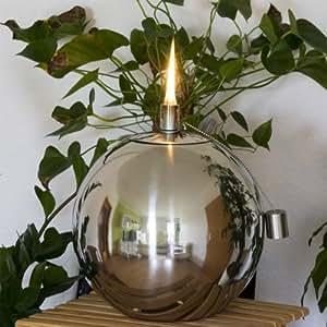 Bola de acero inoxidable Lámpara de aceite–12,5cm de diámetro–Acero inoxidable Antorcha para jardín, terraza o balcón–Aceite antorcha–ölfackel–Antorcha de jardín––lámpara esférica–Jardín bola