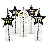 Pack Of 36 Graduation Straws Striped Paper Straws With Graduation Charms