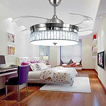 RS Lighting Crystal Ceiling Fans With Light And Remote Retractable 4  Acrylic Blades Modern Style Decorative Fan Chandelier For Indoor Living  Room Bedroom ...