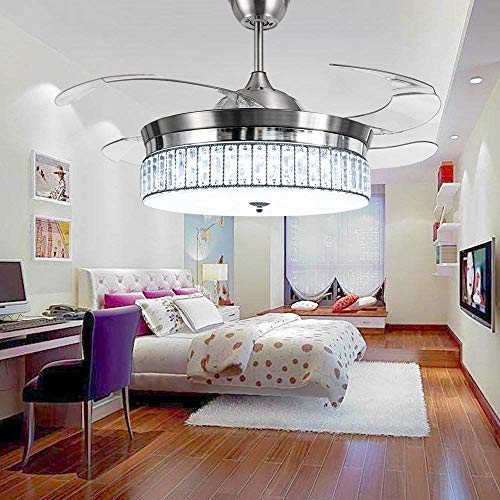 RS Lighting Crystal Ceiling Fans with Lights and Remote Retr