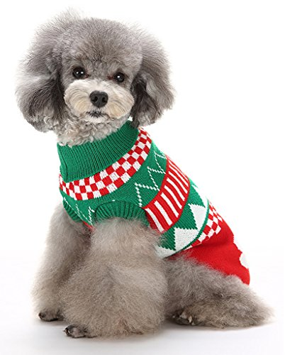 MaruPet Christmas Dog Ribbed Knit Sweater Knitwear Turtleneck Pure Pet Bone Kintted Doggie Halloween Two-leg Sweatershirt Apparel for Small Dog Green (Doggie Christmas)