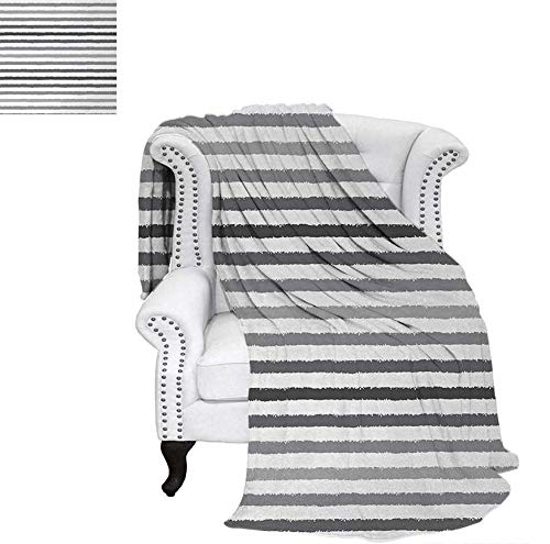 Velvet Plush Throw Blanket Gray and White Stripes Monochrome Tone Brush Style Lines Grunge Retro Digital Print Throw Blanket 60