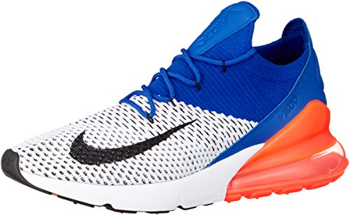 Nike Air Max 270 Flyknit Size 9.5 Men Casual Shoes Laser White/Black-Blue