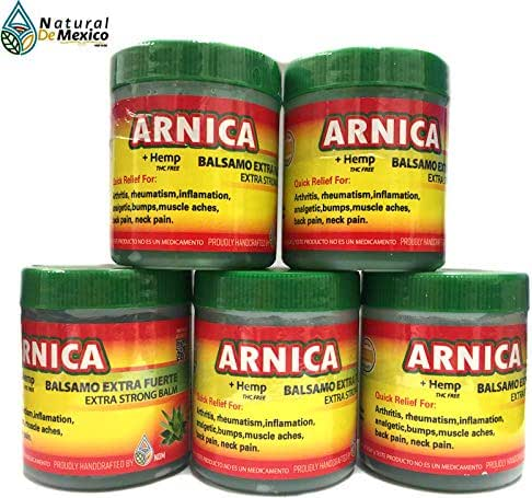 5 Arnica Reinforced with Hemp 120 grms Pain Reliever Arthritis Relief, Back, Neck, Knee Joint, Muscle Repair Extract 100% Natural and Organic