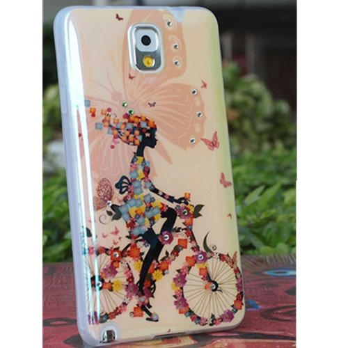 EVTECH(TM) 3D TPU IMD Blu-ray unique Production Process Series Bike Girl Handmade Crystal Rhinestone Heart Diamond Bling Cover Soft Faceplate Case for Samsung Galaxy Note 3 SM-N9000 N9002 N9005