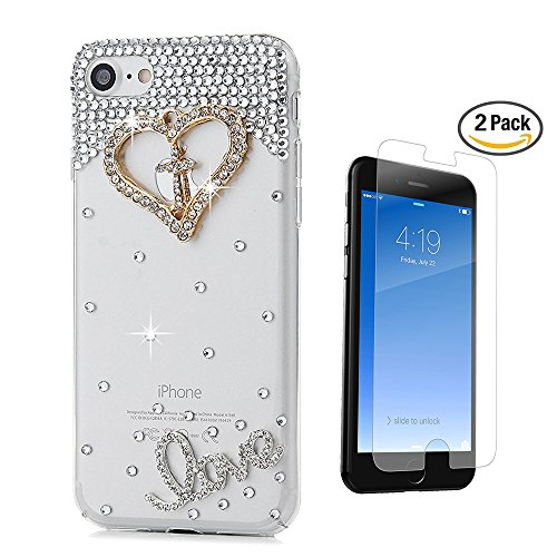 iPhone 6 Plus Case, STENES [Luxurious Series] 3D Handmade Crystal Sparkle Bling Case with Screen Protector & Retro Bowknot Anti Dust Plug - Golden Cross Heart Silver Crystal LOVE