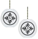 Set of 2 Black and White Scroll Flower Floral Country Solid Ceramic Fan Pulls