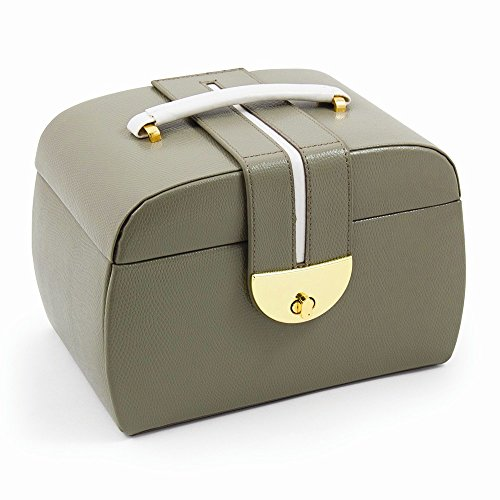 Jewelry Best Seller Olive Leather Three Level Jewelry Box