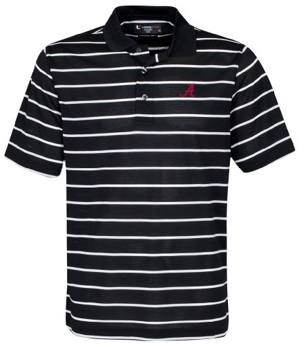 NCAA Alabama Crimson Tide Men's Pebble Texture Golf Polo, Black/White, X-Small