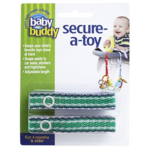 Baby Buddy 2 Piece Secure-A-Toy, Navy/Green Stich