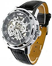 "Skeleton Dial Leather Strap Hand-Wind Mechanical Men""s Watch (Black)"