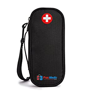 PracMedic EPIPEN Case - Holds 2 Epi Pens or Auvi-Q, Asthma Inhaler, Generic Benadryl Small, Nasal Spray, Eye Drops, Medicine. Syringes, Vials, Ice Pack - Sold Empty (Black)