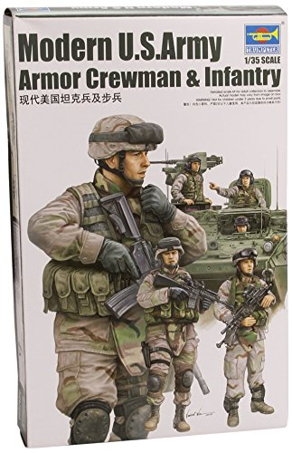 Trumpeter Modern US Army Crewmen and Infantry Figure Set, Scale 1/35, 6-Pack