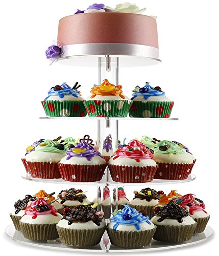 [DYCacrlic 4 Tiers Cupcake Stand and Towers Tree (Hold 36 pcs) - Stacked Wedding Cake Cupcake Stands - Tiered Round Pastry Dessert Stand For Parties] (4 Tier Baby Cake)