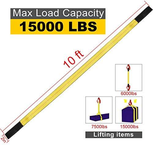10x2 Lift Sling Straps 2 Pack 15,000lbs Max Vertical Break Strength Heavy Capacity Heavy Duty Lifting Slings Nylon Tree Saver Recovery Strap Web