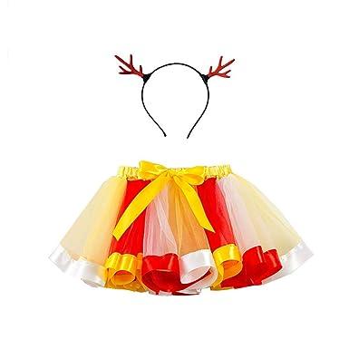 CyFe 1 Unidad de tutú de Navidad con diseño de arcoíris, Falda de ...